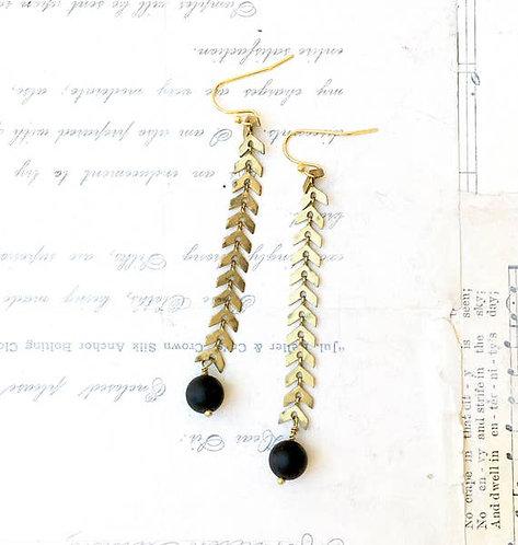 Brass Chevron Chain Earrings