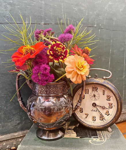 Antique Clock and Silver Plated Vase