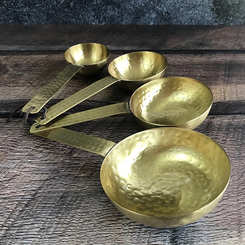 Hammered Brass Scoop Set