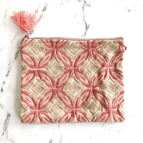 Velvet Embroidered Pouch Blush + Pink