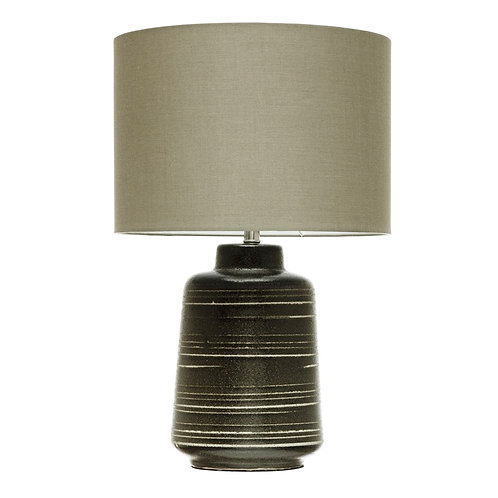 Stoneware Lamp with Olive Shade