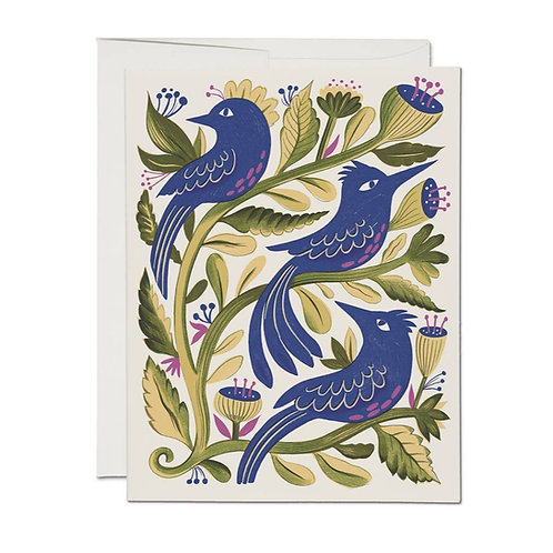 Purple Birds Note Cards Set/8