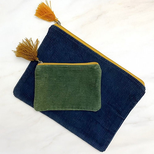 Corduroy Pouch with Tassel - Large