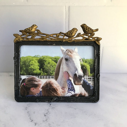 Pewter Photo Frame with Golden Birds