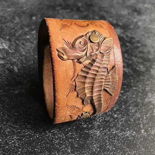 Leather Belt Bracelet with Seahorse