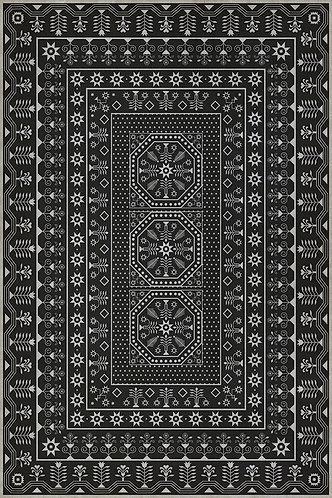 Vintage Vinyl Floorcloth - Folk Art Museum - Embroidery - Winters Midnight 20x30
