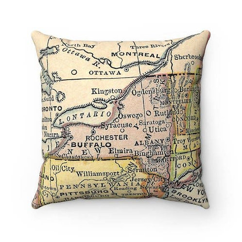 New York State Map Pillow