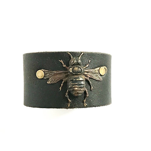 Leather Belt Bracelet with Bee