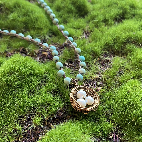 Turquoise + Pearl Nest Necklace
