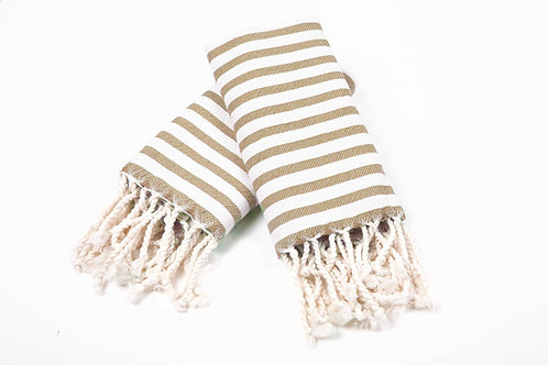 Turkish Hand Towel Taupe Stripe Set 2