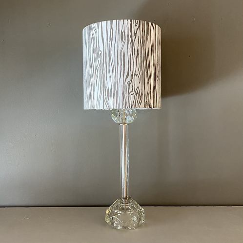 Vintage Glass Lamp with Woodgrain Shade