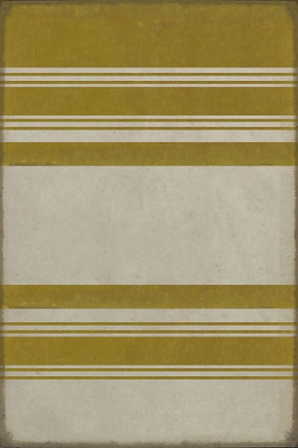 Vintage Vinyl Floorcloth - Pattern 50 Organic Yellow Stripe - 20x30