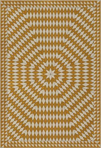 Vintage Vinyl Floorcloth - Folk Art Museum - Sunburst -The Sun Has Risen - 20x30
