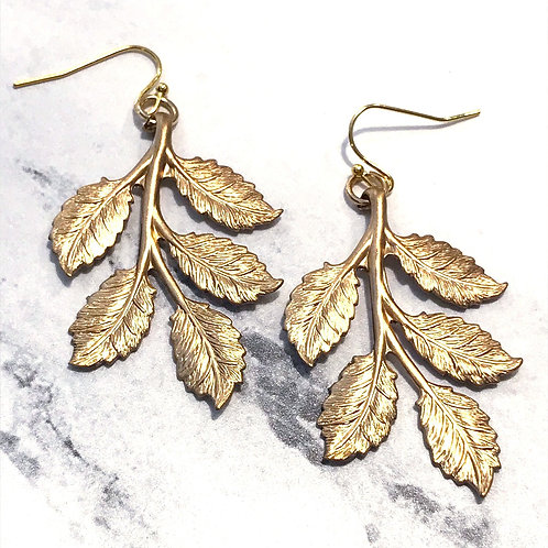 Brass Leaf and Gold Plated Wire Earrings