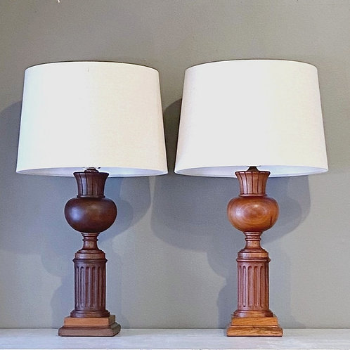 Vintage Brazilian Mahogany Lamp Pair