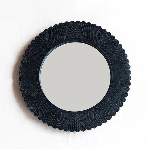 Black Round Carved Wall Mirror