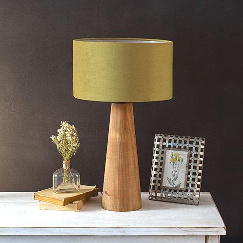 Wood + Velvet Taper Lamp Pair