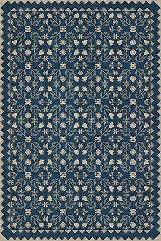 Vintage Vinyl Floorcloth - Folk Art Museum - Floral Quilt - Spring Rain - 20x30