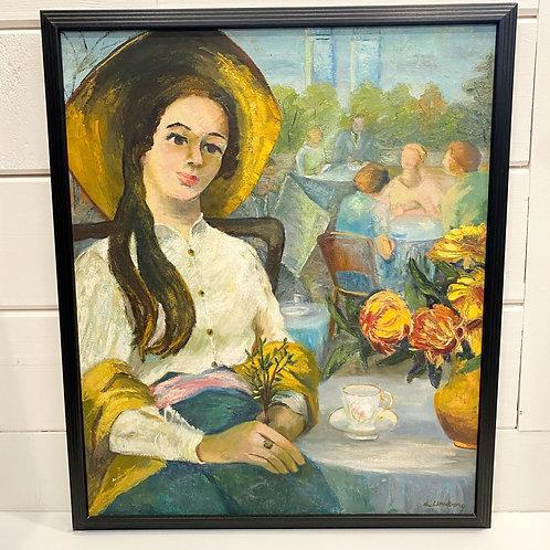 """Vintage Oil Painting by Elsa Lundborg """"September Afternoon"""""""