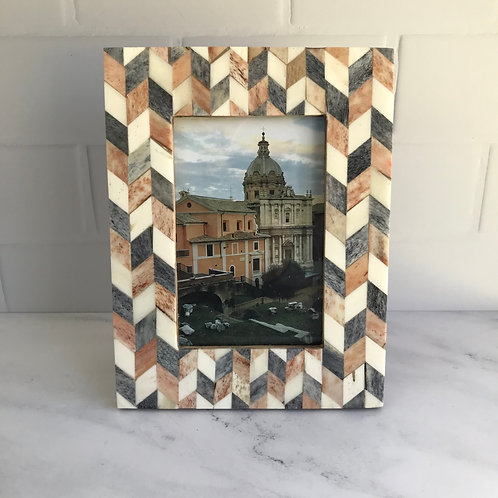 Chevron Pattern Photo Frame in Grey + Brown