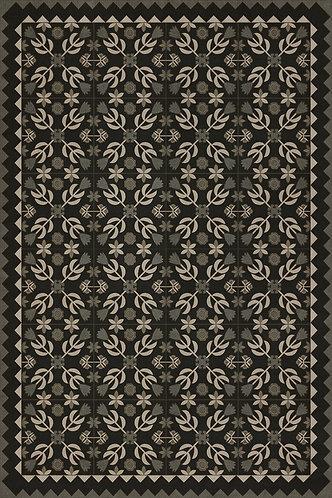 Vintage Vinyl Floorcloth - Folk Art Museum - Floral Quilt - Awake at Night 20x30