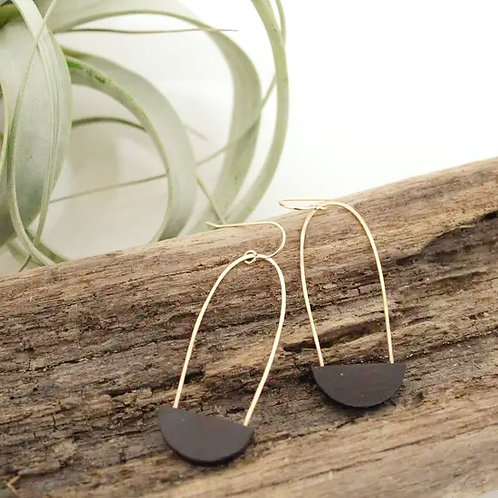 Half Moon Earrings - Black Clay