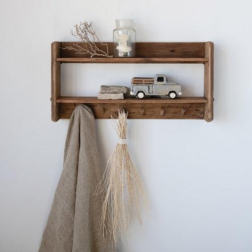 Reclaimed Wood 6-Hook Shelf Rack
