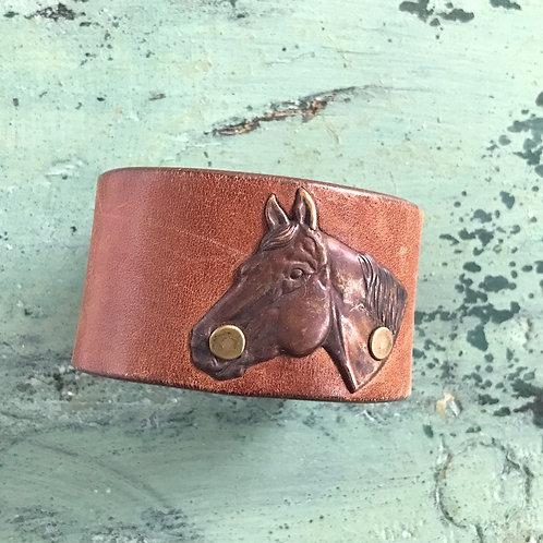 Leather Belt Bracelet with Horse
