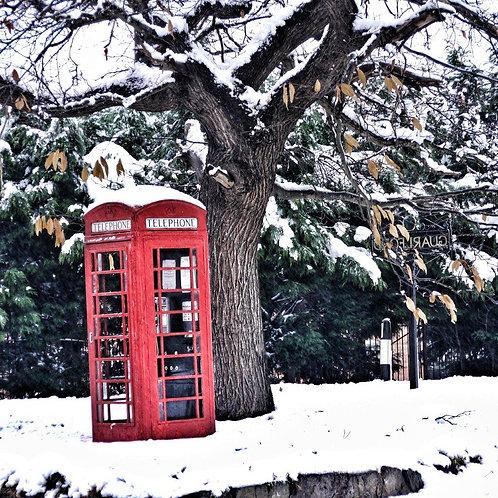 Snowy Phone Box Christmas Card