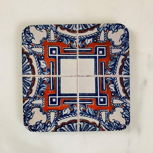 Lisbon Tiles - Blue Orange Coaster