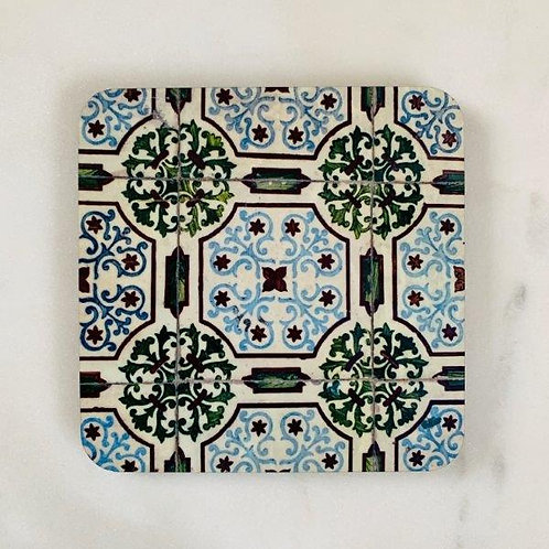 Lisbon Tiles - Blue Green Coaster