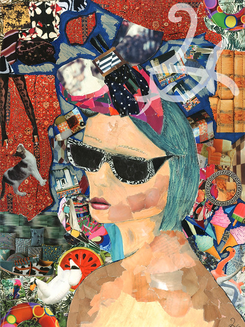 Woman Inside The Collage Original