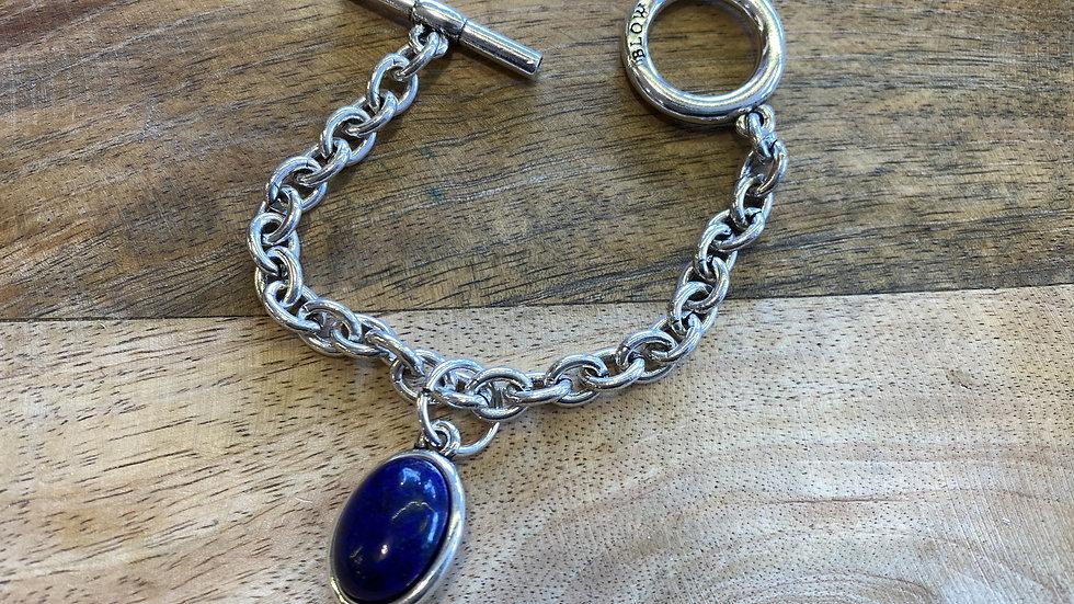 Bracelet Chaine Argent cabochon Lapis-Lazuli