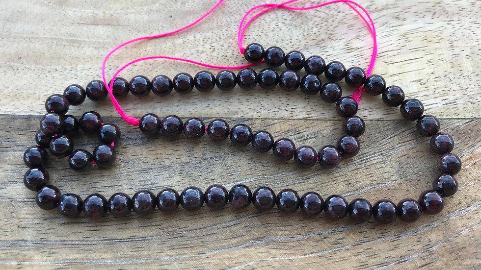Grenat Rouge perles 6mm sur fil 40cm