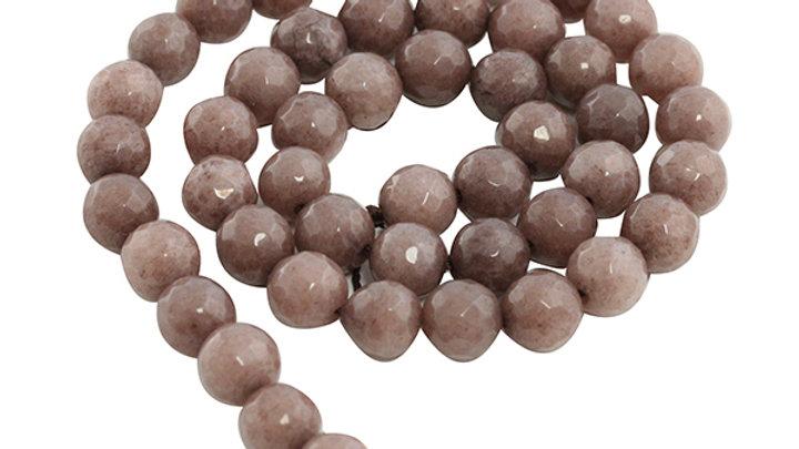 Perle Ronde Jade Opaque Facettée 8mm Brun Clair