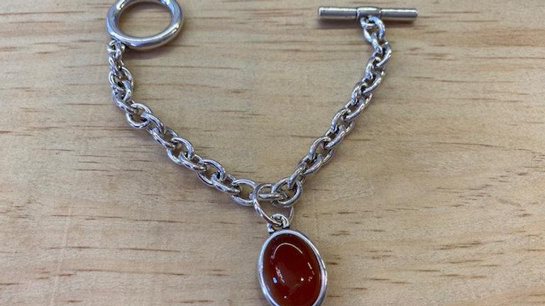 Bracelet Chaine Argent cabochon Cornaline