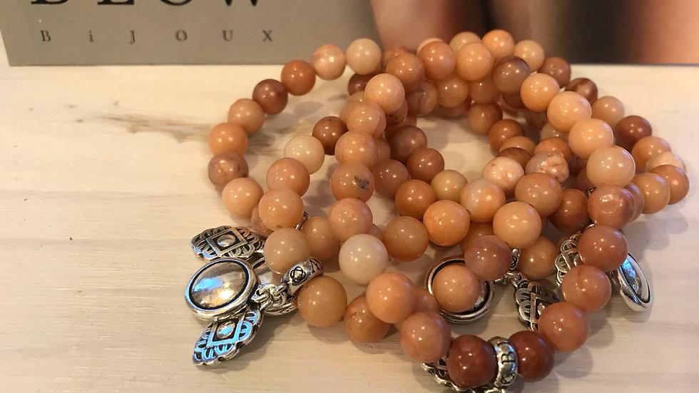 Bracelet pierres naturelles Jaspe Rose