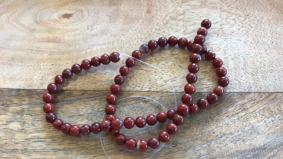 Jaspe Rouge A perles 6mm sur fil 40cm