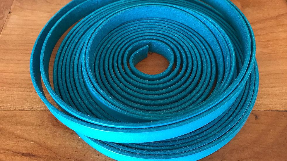 Cuir plat veau 10x2mm Turquoise x 10 cm