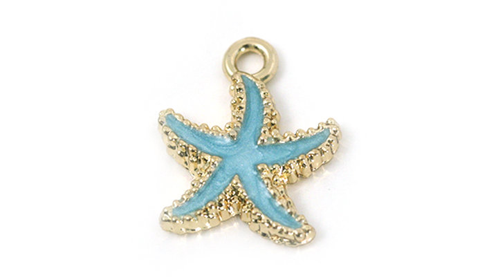 Breloque Étoile de Mer métal émaillé 15mm bleu