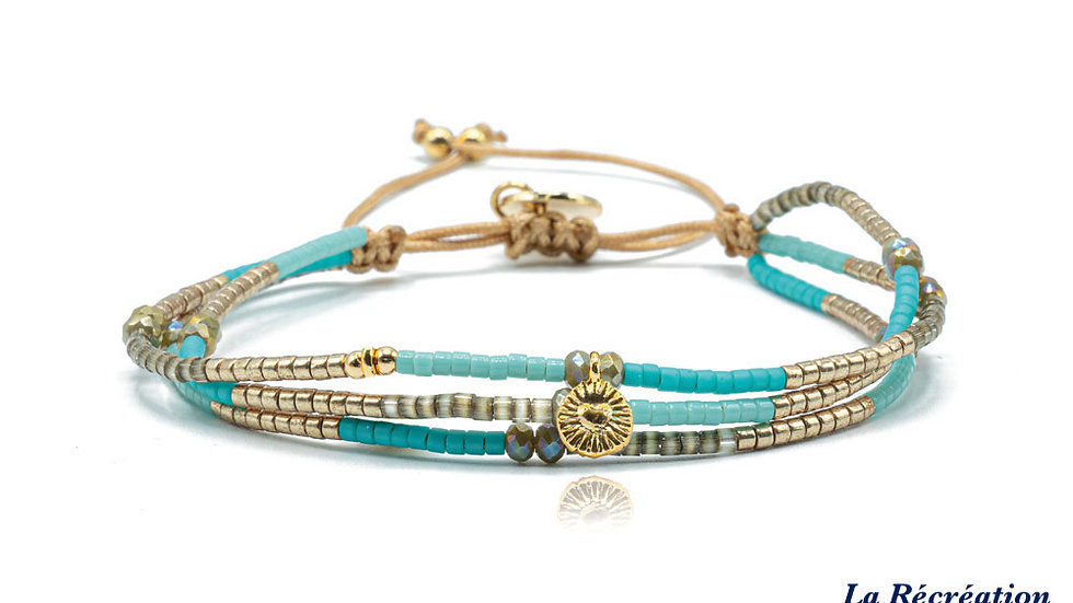 Bracelet Belle Mais Pas Que Golden Blue Ocean