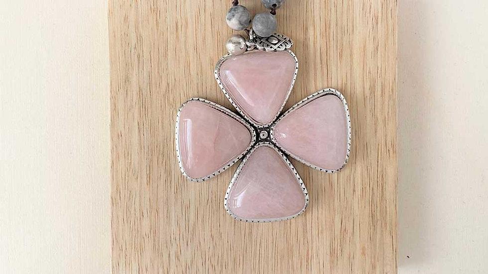 Collier Argent-quartz rose