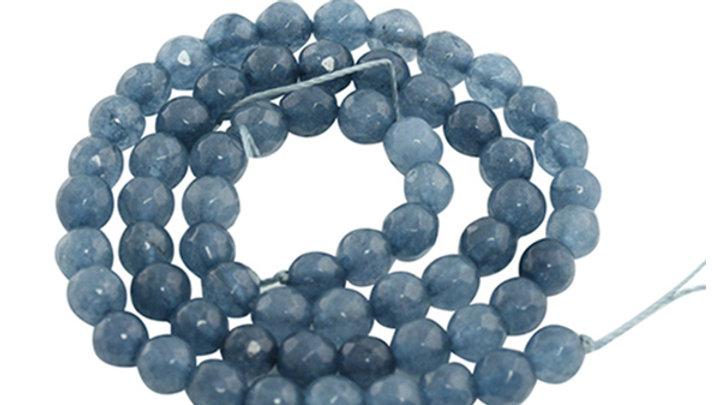 Perle Ronde Agate facettée 6mm Bleu Jeans
