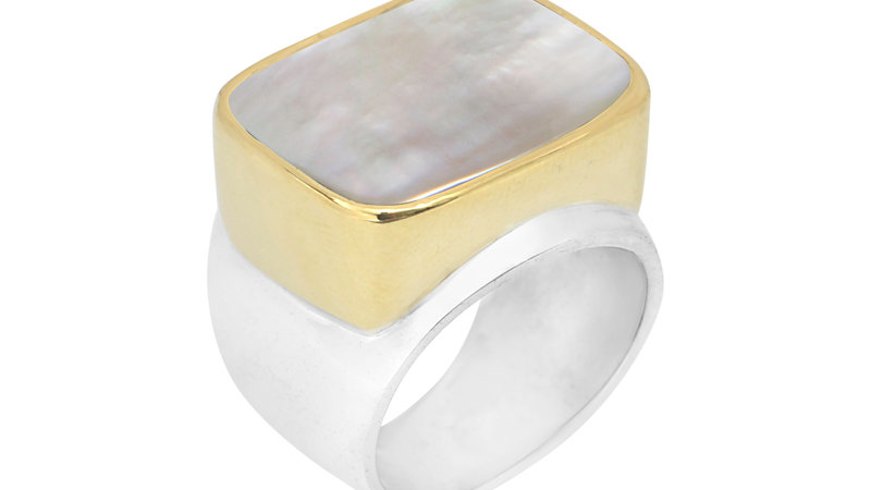 BAGUE CANYON ARGENT NACRE BLANCHE RECTANGLE SERTIE DE LAITON
