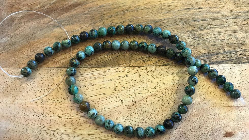 Turquoise naturelle d'Afrique A perles 6mm sur fil 40cm