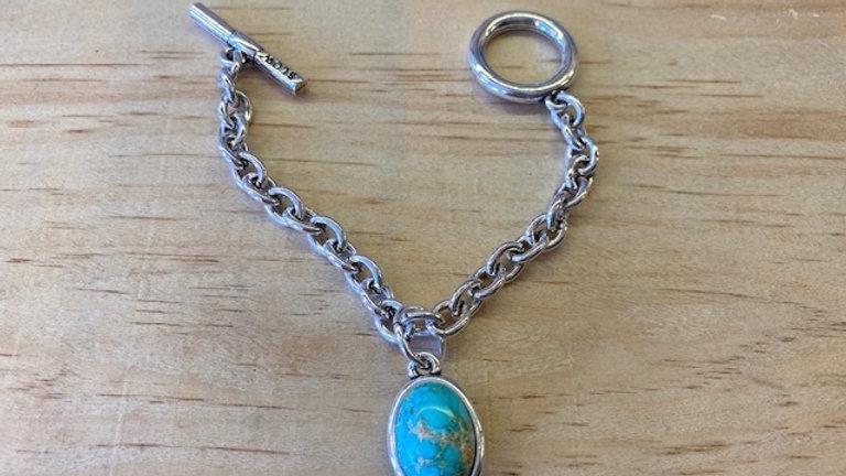 Bracelet Chaine Argent cabochon Turquoise synthétique