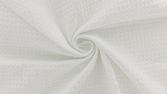 Tissu d'éponge en nid d'abeille blanc x 1m