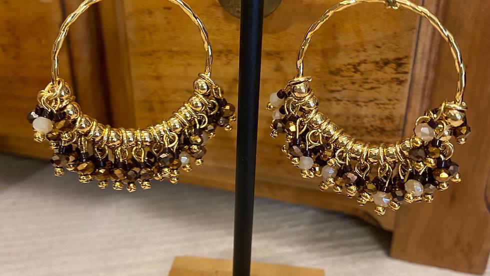 Hypnochic boucles d'oreilles perçées perles de verre marron