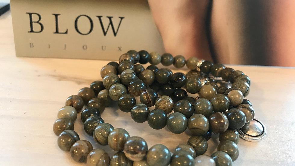 Bracelet pierres naturelles silver green
