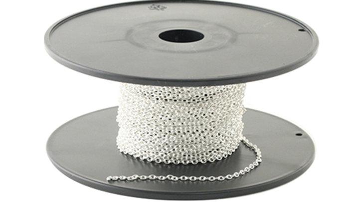 Chaîne fine laiton ovale Argent 2×1.4×0.4mm x 10cm